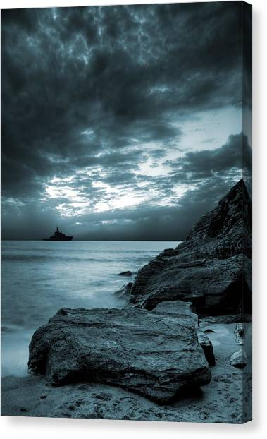 Cliffs Canvas Print - Stormy Ocean by Jaroslaw Grudzinski