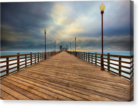 San Diego Canvas Print - Stormy Oceanside Sunset by Larry Marshall
