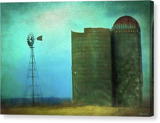 Stormy Old Silos And Windmill Canvas Print