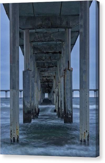 Stormy Pier In Ocean Beach Canvas Print