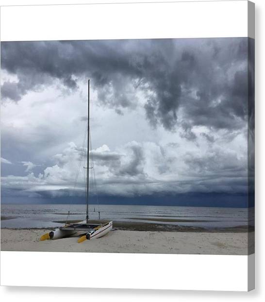 Sailboats Canvas Print - Stormy #sailboat #storms #enlight by Joan McCool