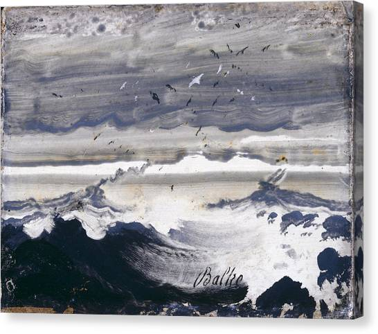Canvas Print featuring the painting Stormy Sea by Peder Balke
