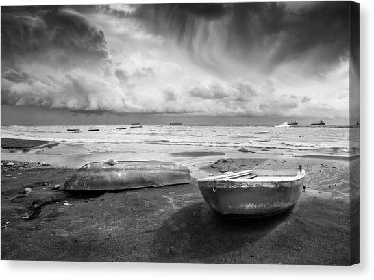 Stormy Sky Sea And Boats Canvas Print