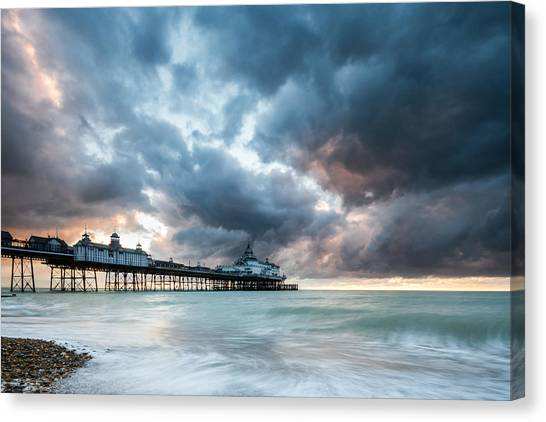 Stormy Sunrise Over Eastbourne Pier Canvas Print