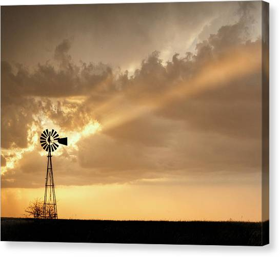 Canvas Print featuring the photograph Stormy Sunset And Windmill 02 by Rob Graham