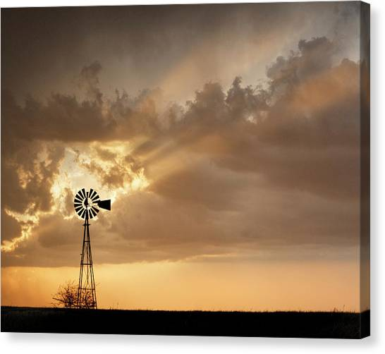 Canvas Print featuring the photograph Stormy Sunset And Windmill 03 by Rob Graham