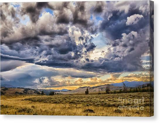 Stormy Sunset At Blacktail Plateau Canvas Print