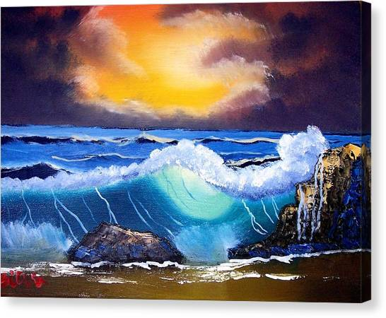 Stormy Sunset Shoreline Canvas Print by Dina Sierra