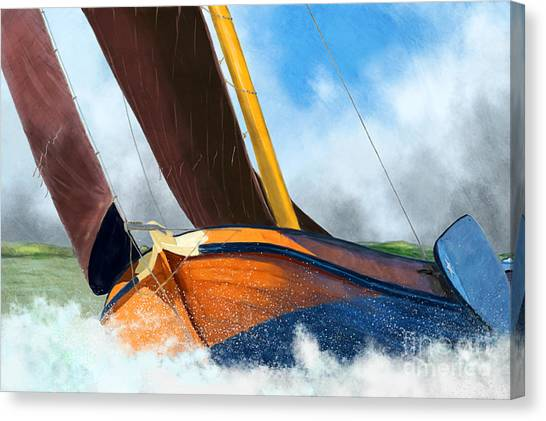 Stormy Weather Skutsje Sailing Ship Canvas Print