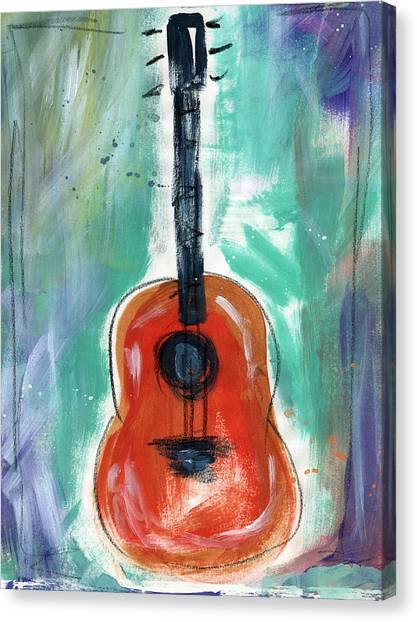 Music Canvas Print - Storyteller's Guitar by Linda Woods