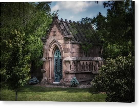 Cemetery Canvas Print - Strader Mausoleum by Tom Mc Nemar
