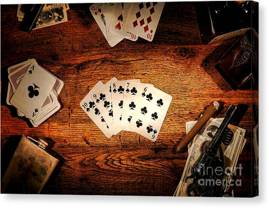 Card Canvas Print - Straight Flush by Olivier Le Queinec