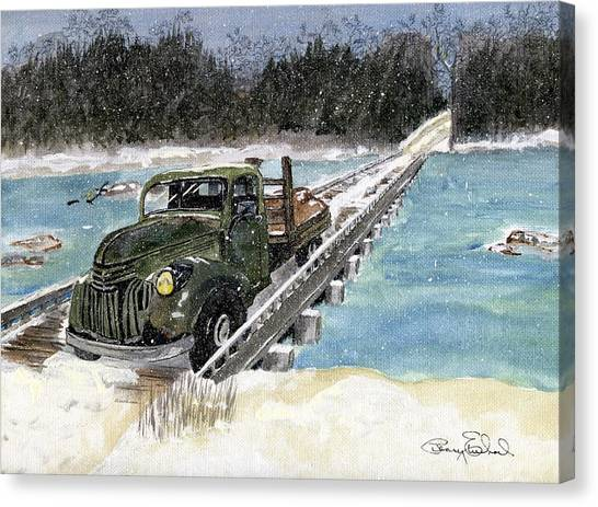 Stranded On Rockford Bridge Canvas Print by Penny Everhart