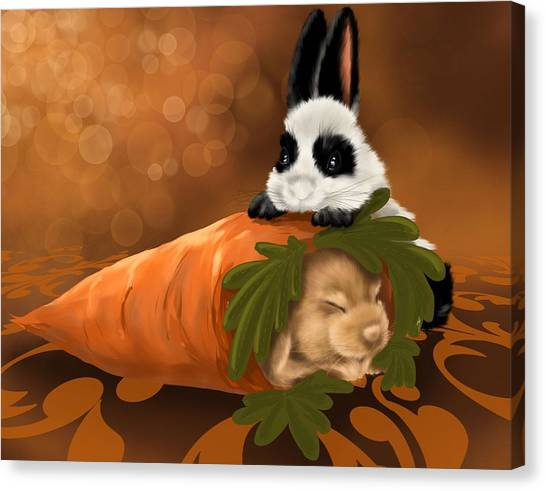 Carrots Canvas Print - Strange Carrot by Veronica Minozzi