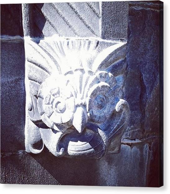 Vault Canvas Print - Strange Face.  #albanyruralcemetery by Paula Lemire
