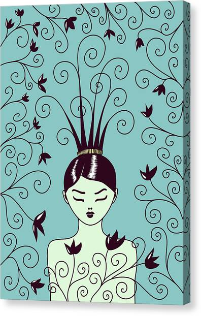 Strange Hairstyle And Flowery Swirls Canvas Print