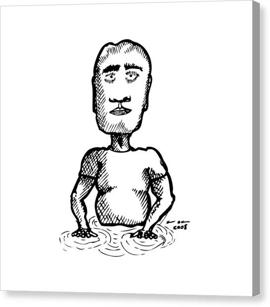 Strange Man In Pool Canvas Print by Karl Addison