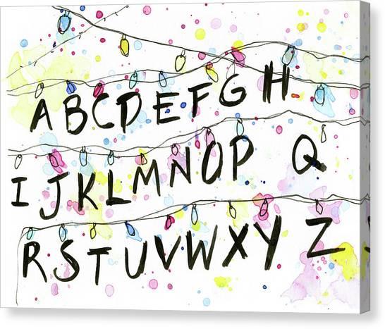 Christmas Lights Canvas Print - Stranger Things Alphabet Wall Christmas Lights by Olga Shvartsur