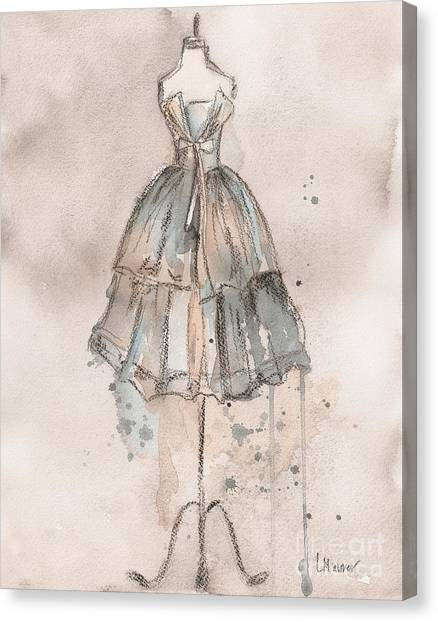Champagne Canvas Print - Strapless Champagne Dress by Lauren Maurer