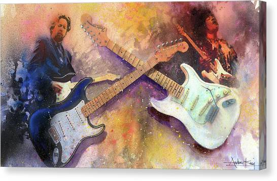 Stratocasters Canvas Print - Strat Brothers by Andrew King