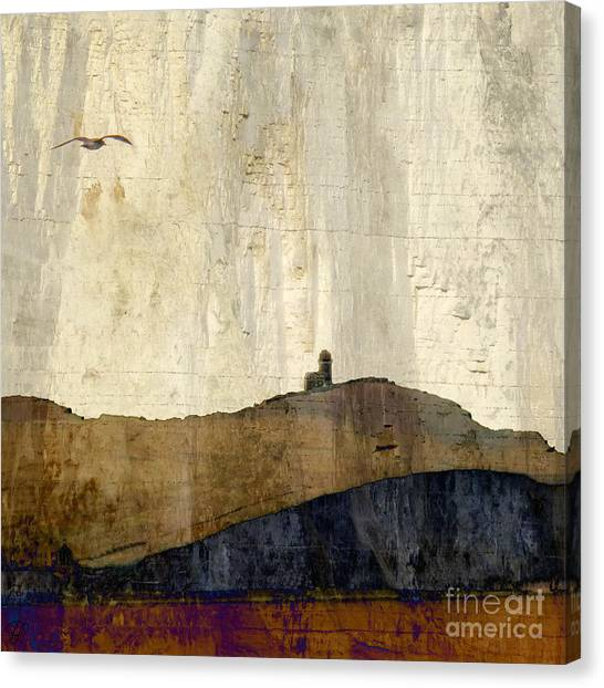 Strata With Lighthouse And Gull Canvas Print