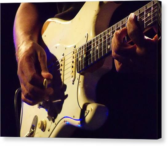 Stratocaster Blues Canvas Print by Steve Pimpis
