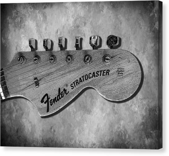 Fender Guitars Canvas Print - Stratocaster Head by Mark Rogan