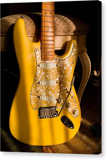 Stratocaster Plus In Graffiti Yellow Canvas Print