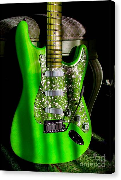 Stratocaster Plus In Green Canvas Print