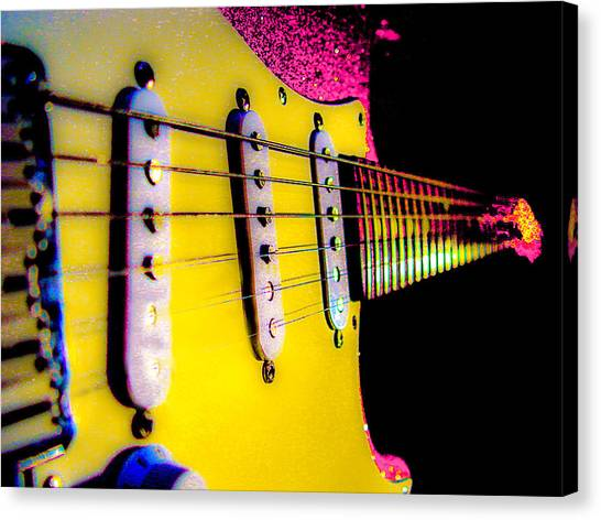Stratocaster Pop Art Pink Fire Neck Series Canvas Print