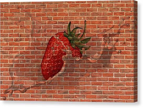 Strawberries And Cream Amazing Graffiti Canvas Print