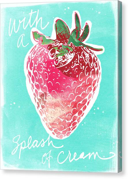 Strawberries Canvas Print - Strawberries And Cream by Linda Woods