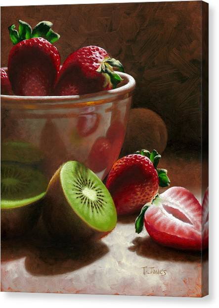 Strawberries Canvas Print - Strawberries And Kiwis by Timothy Jones