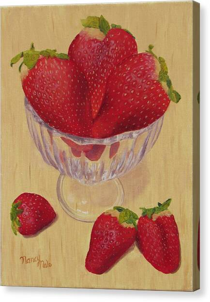 Canvas Print featuring the painting Strawberries In Crystal Dish by Nancy Nale