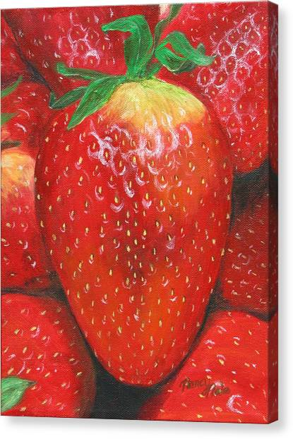 Canvas Print featuring the painting Strawberries by Nancy Nale