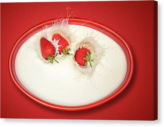 Strawberries Canvas Print - Strawberries Splashing In Milk by Johan Swanepoel