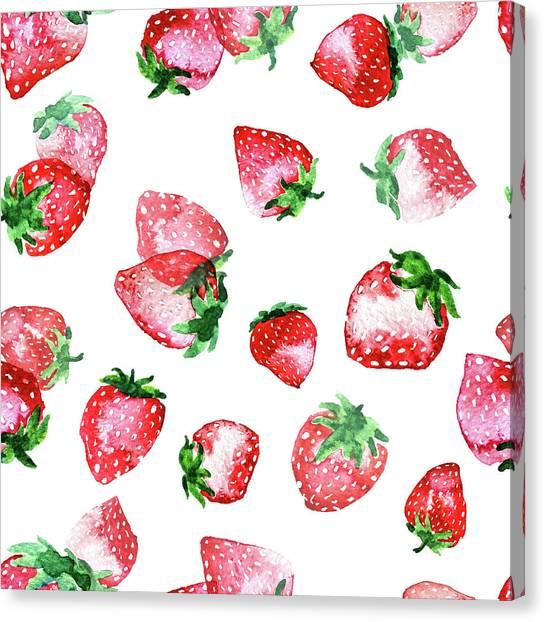 Digital Watercolor Canvas Print - Strawberries by Varpu Kronholm