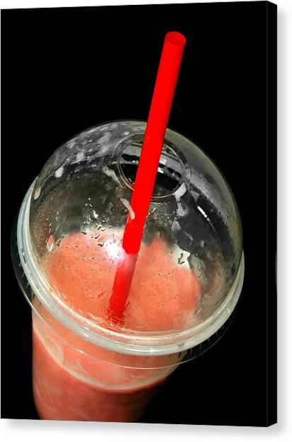 Smoothie Canvas Print - The Red Straw by Diana Angstadt