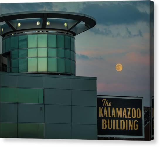 Strawberry Moonrise Over Kalamazoo Canvas Print