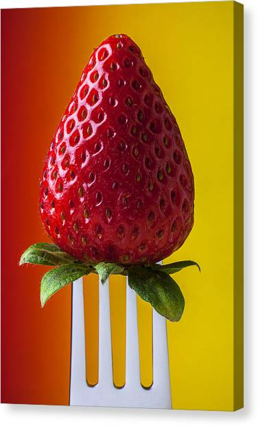 Strawberry Canvas Print - Strawberry On Fork by Garry Gay