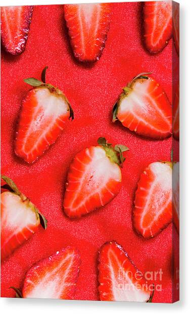 Strawberries Canvas Print - Strawberry Slice Food Still Life by Jorgo Photography - Wall Art Gallery