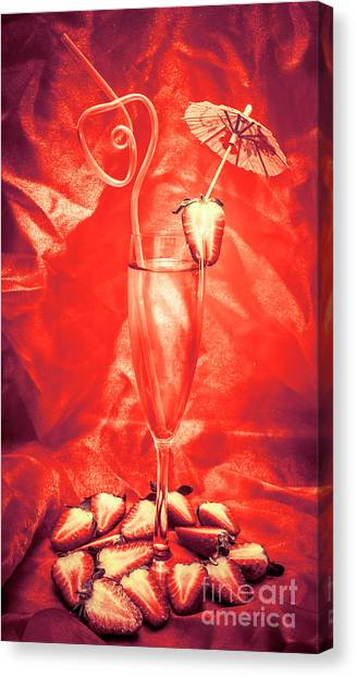 Champagne Canvas Print - Straweberry Tropical Cocktail Drink by Jorgo Photography - Wall Art Gallery