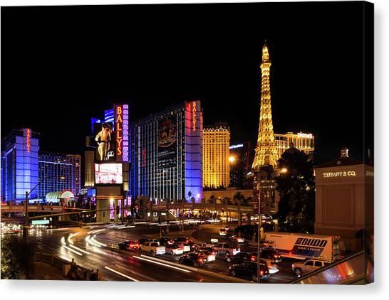 Midnite Canvas Print - Streaking Along The Famous Strip - Las Vegas Neon Rush by Georgia Mizuleva