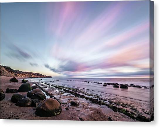 Bowling Ball Canvas Print - Streaking On The Beach by Jon Glaser