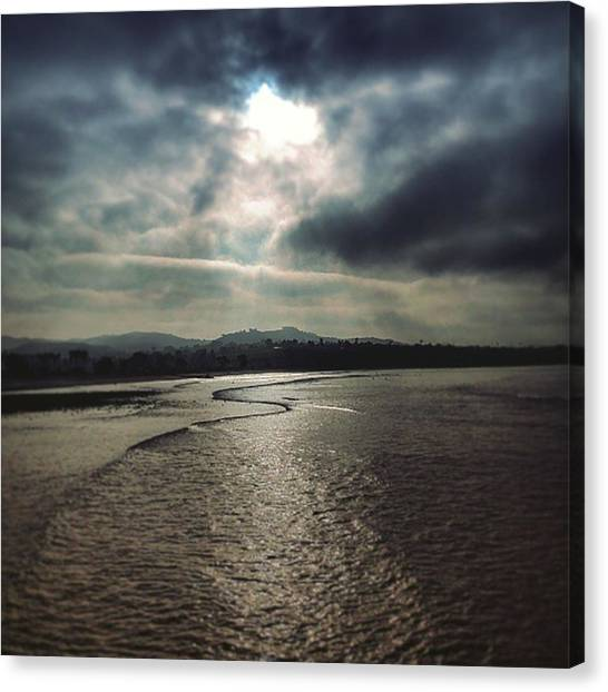 Ocean Sunrises Canvas Print - Streams Of Light On The Shoreline by Sandie Dixon Watkins