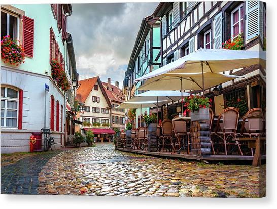 Street Cafe After The Rain Canvas Print
