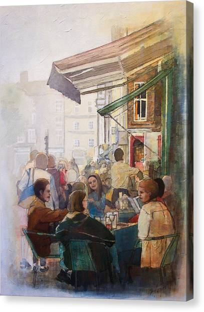 Street Cafe Canvas Print by Victoria Heryet