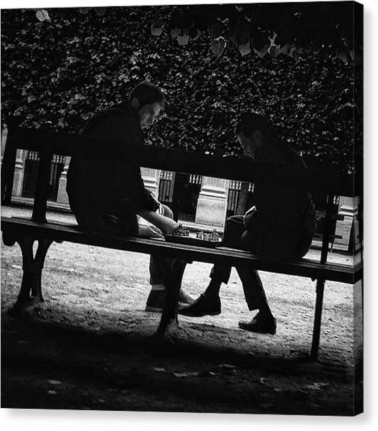 Paris Canvas Print - Street Chess #chess #game #bench #park by Rafa Rivas