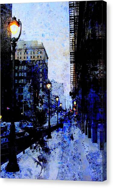 Street Lamps Sidewalk Abstract Canvas Print