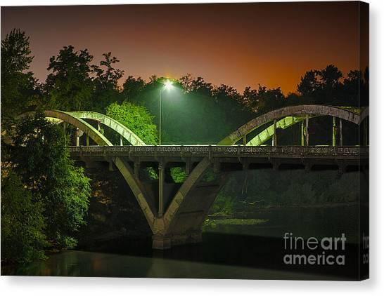 Street Light On Rogue River Bridge Canvas Print